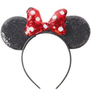 Other - Minnie Mouse Headband Red Sequin Polka Dot Bow